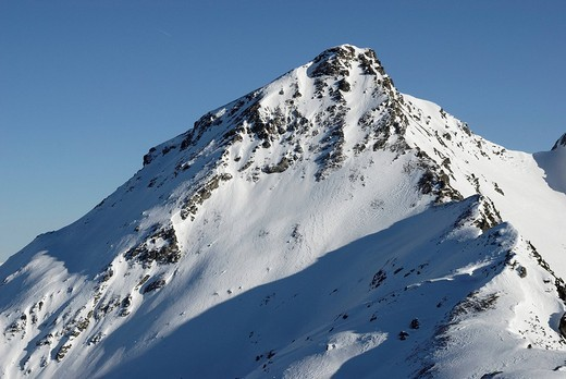 Snow covered peak of the Torhelm in the Zillertaler alps Tyrol Austria : Stock Photo