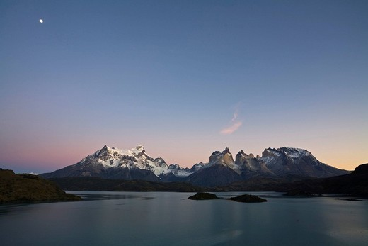 Stock Photo: 1848R-332701 Dawn with moon at the Torres del Paine massif at the lake Lago Pehoe, national park Torres del Paine, Patagonia, Chlie, South America