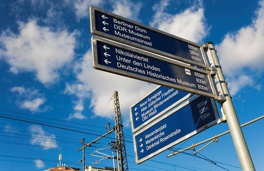 Stock Photo: 1848R-332817 Directional sign indicating the way to various places of interest in Berlin, Germany
