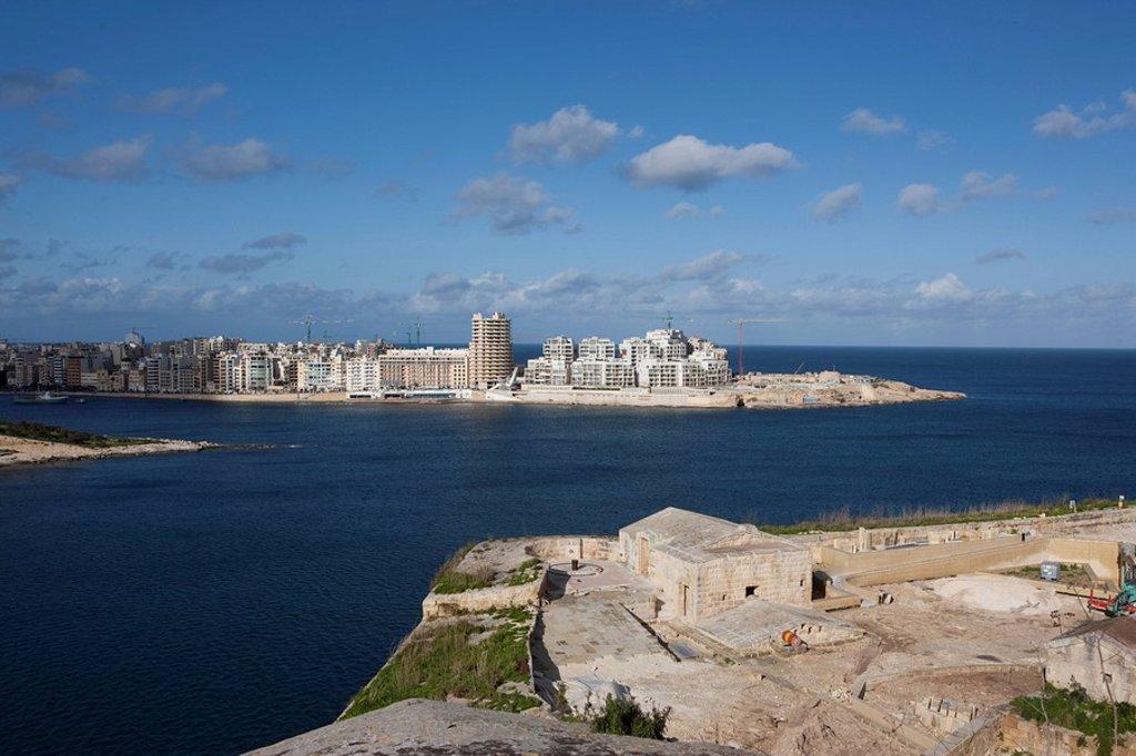 Stock Photo: 1848R-333129 View of Marsamxett Harbour and Sliema Beach from Valletta, Sliema Creek, Valletta, Malta, Europe