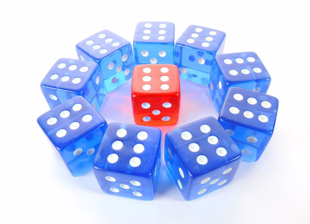 Dice, symbolic picture for mobbing, isolation, loner, intimidation, aggression : Stock Photo