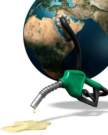 Last drops of gasoline coming out of a gas station nozzle connected to the Earth, illustration : Stock Photo