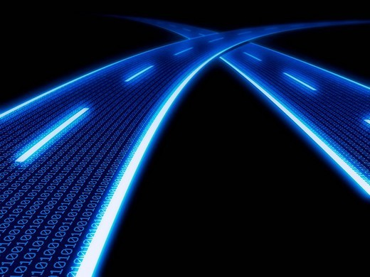 Stock Photo: 1848R-333257 Stylized glowing blue highway with binary code, 3D Illustration