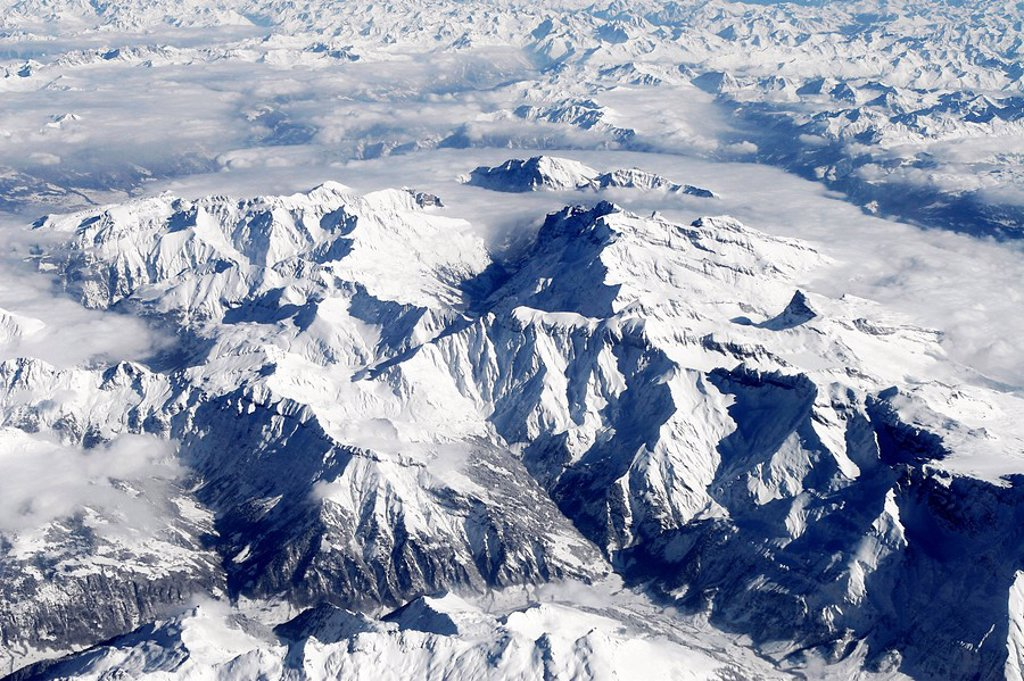 Stock Photo: 1848R-333318 View from a plane, Alps