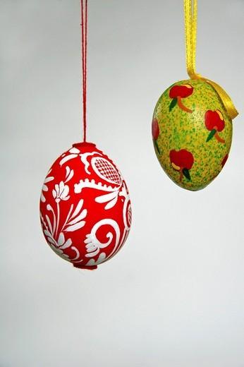 Hand-painted Easter eggs, folk art, Transylvania, Hungarian art : Stock Photo