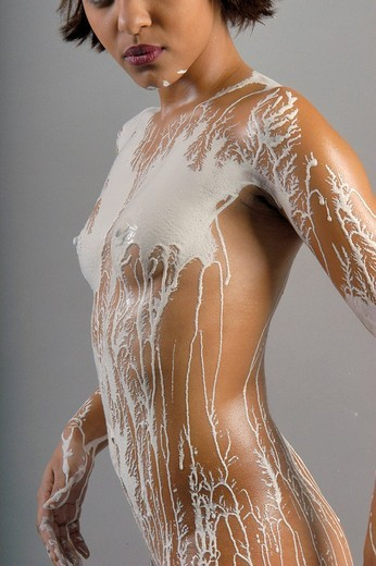 Model covered in white plaster, Paris, France, Europe : Stock Photo