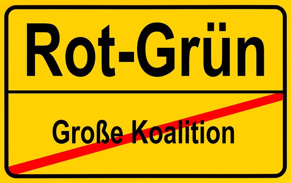 Stock Photo: 1848R-334241 Sign city limits, symbolic image for the replacement of the grand coalition with a SPD_Green government