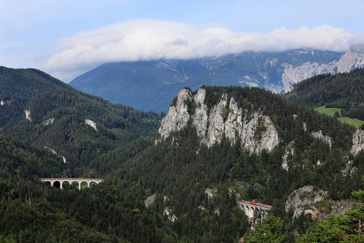 Stock Photo: 1848R-334331 Semmering Railway, view from the 20_Schilling_Blick lookout, in the clouds, Rax Mountain, Semmering, Lower Austria, Austria, Europe