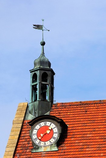 Stock Photo: 1848R-334997 Tiled roof with a clock tower and weather vane, St  Johannis Parish Churck, Ansbach, Franconia, Bavaria, Germany, Europe