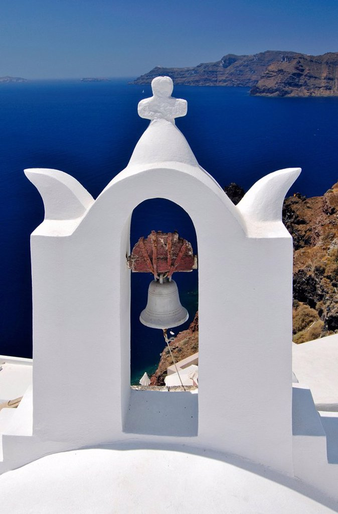 Bell tower of a chapel in Oia, Ia, Santorini, Cyclades, Greece, Europe : Stock Photo