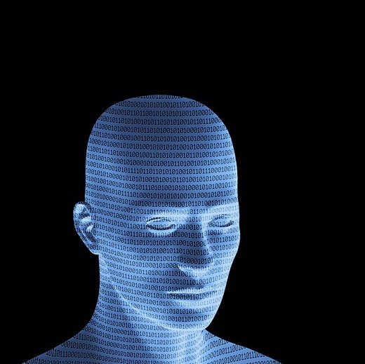Stock Photo: 1848R-335366 Blue male head with binary code, 3D Illustration