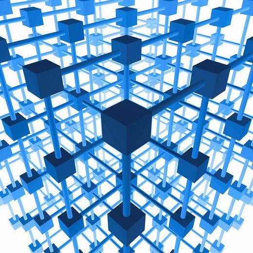 Three_dimensional grid structure made of blue cubes and rods, 3D Illustration : Stock Photo