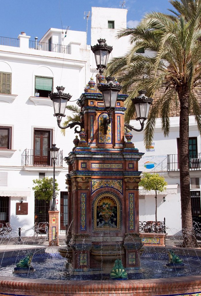 Fountains at on the town hall square in the Andalusian village of Vejer, Spain, Europe : Stock Photo