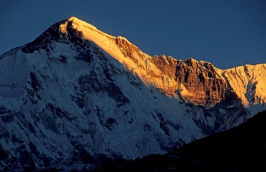 Sunrise over the south face of Cho Oyu Nepal : Stock Photo