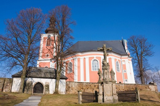 Stock Photo: 1848R-337271 Church of St. Mary Magdalene, Bozanov, Nachod district, East Bohemia, Czech Republic, Europe