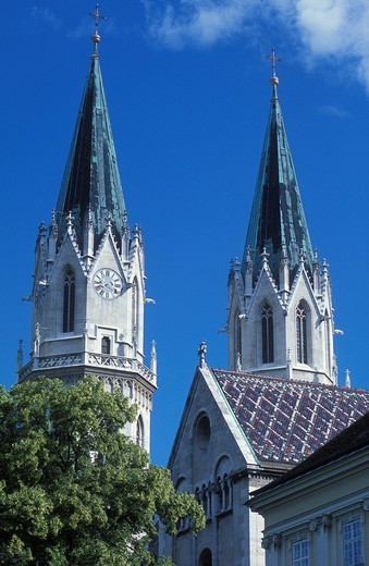 Towers of the abbey church, Klosterneuburg Monastery, Klosterneuburg, near Vienna, Austria, Europe : Stock Photo