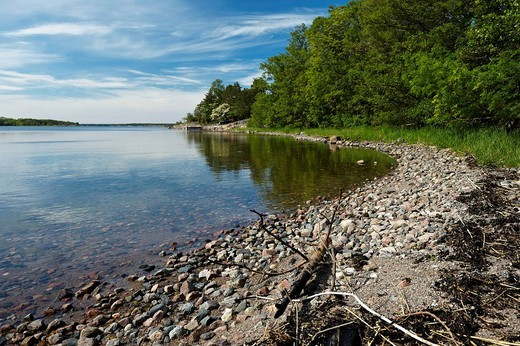 Beach at the northernmost part of the Singoe Island, Sweden, Scandinavia, Europe : Stock Photo