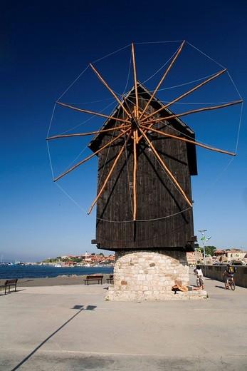 Wind mill of Nesebar, Black Sea, Bulgaria : Stock Photo