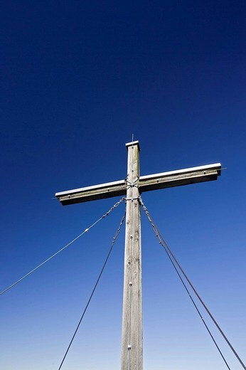 Stock Photo: 1848R-338273 Cross on the summit of Trainsjoch, Alps, Bavaria, Germany, Europe