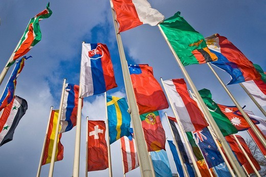 Stock Photo: 1848R-338371 International flags in front of Messe Berlin fairgrounds, Berlin, Germany