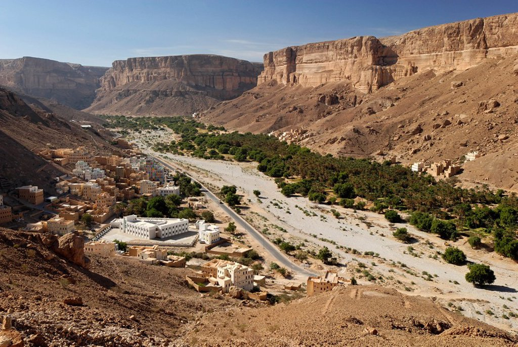 Village of Khaylla, Khaylah, Wadi Doan, Hadramaut, Yemen : Stock Photo