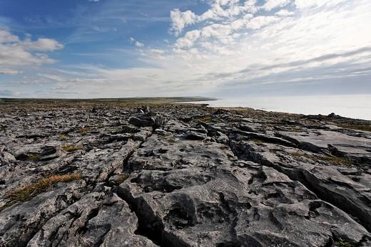 The Burren is a furrowed limestone area , Burren, Clare, Ireland : Stock Photo