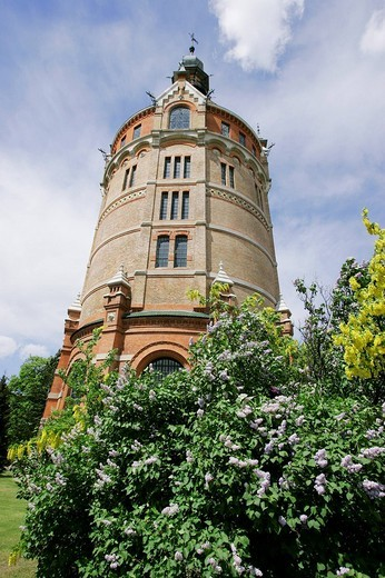The water tower in the district of Favoriten built in 1899 in the architecture style industrial historism Vienna Austria : Stock Photo