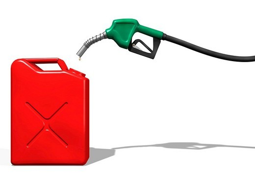 Last drops of gasoline coming out of a gas station nozzle into a canister, illustration : Stock Photo