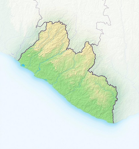 Stock Photo: 1848R-339628 Liberia, shaded relief map