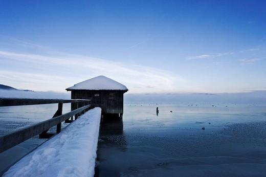 Boats hut at Kochelsee, Kochelsee Upper Bavaria Germany winter : Stock Photo