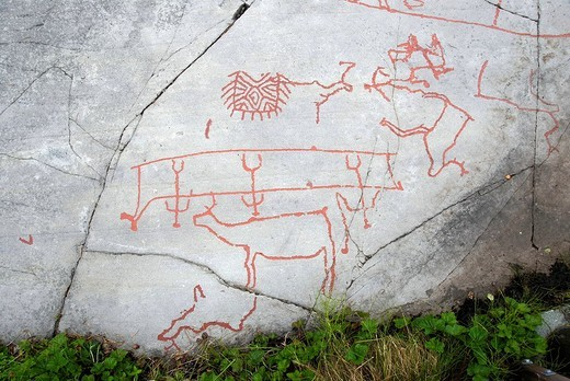 Stock Photo: 1848R-340119 Reindeer, Alta rock carvings, UNESCO World Heritage Site, Alta, Norway, Scandinavia