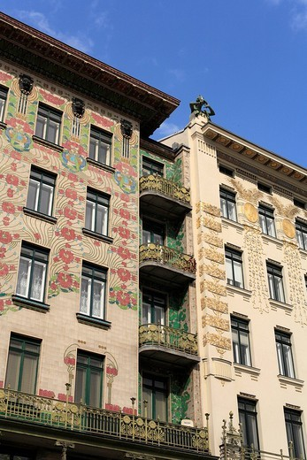 Stock Photo: 1848R-340349 Majolikahaus, left, art nouveau houses on Linke Weinzeile No 38 and 30, Vienna, Austria, Europe