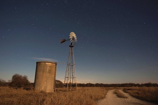 Stock Photo: 1848R-340656 Wind mill at night with stars, Sinton, Corpus Christi, Coastal Bend, Texas, USA