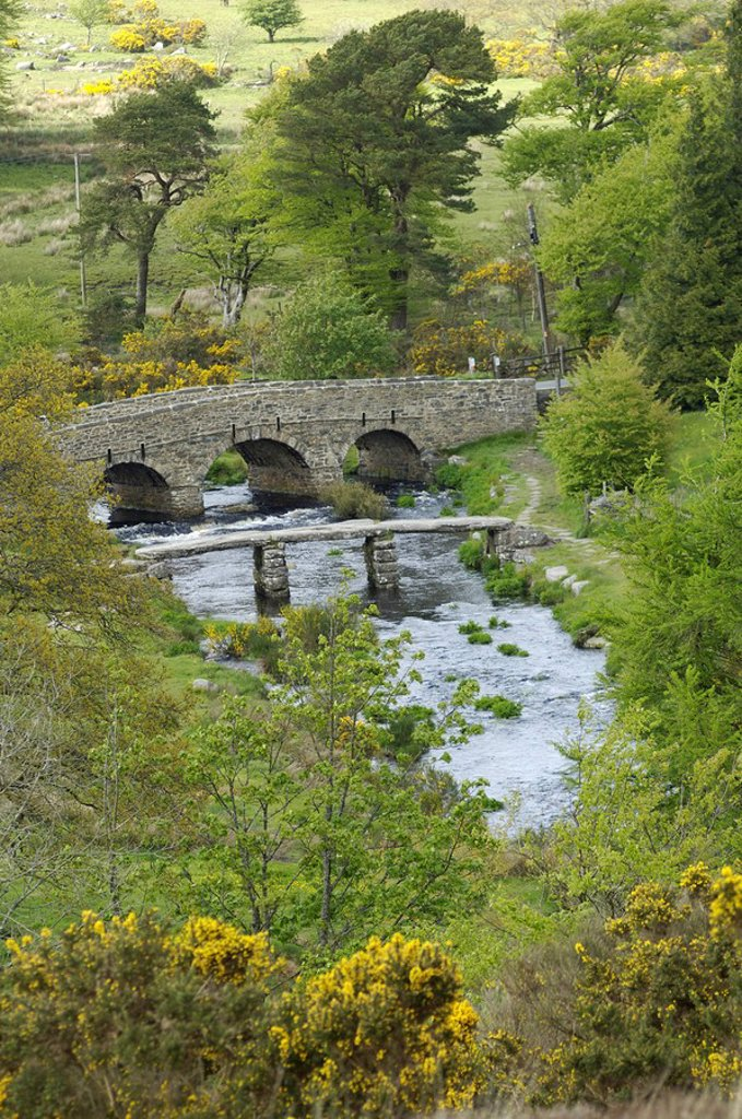 Stock Photo: 1848R-341760 Clapper Bridge Postbridge Dartmoor National Park Devon England