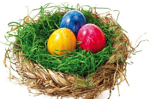 Stock Photo: 1848R-342162 Colourful painted Easter eggs in a nest