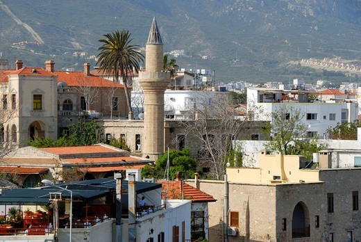 Houses and minaret Girne Kyrenia North Cyprus : Stock Photo