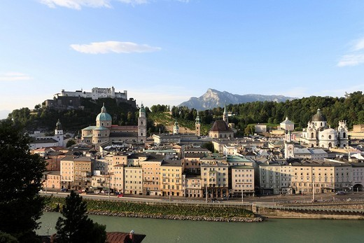 View from Kapuzinerberg Hill of the historic district of Salzburg with Festung Hohensalzburg Fortress, cathedral, Kollegienkirche Church, Salzach, Austria, Europe : Stock Photo