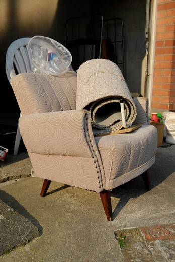 Old arm chairs with bulk rubbish : Stock Photo