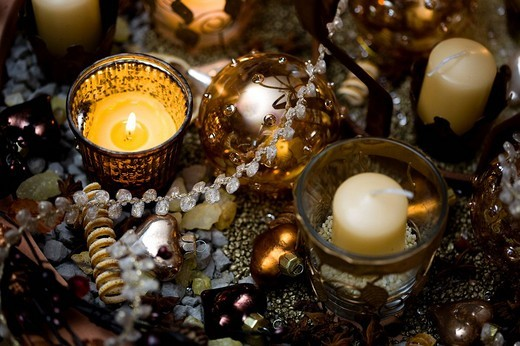 Festive decoration with candles : Stock Photo