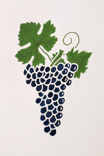 Stock Photo: 1848R-343733 Mural painting, grapes on the vine in the vine_growing region of the Ahr valley, Rhineland_Palatinate, Germany, Europe