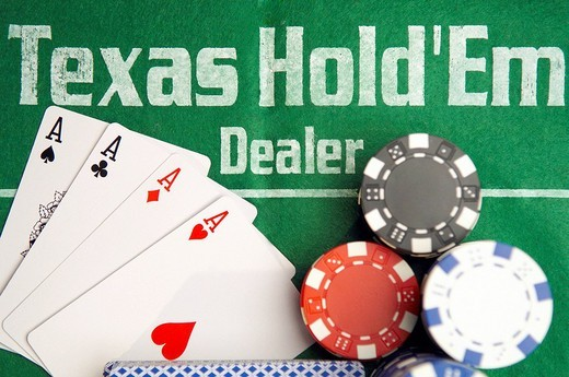 Texas Hold´em Poker Dealer with cards and chips : Stock Photo