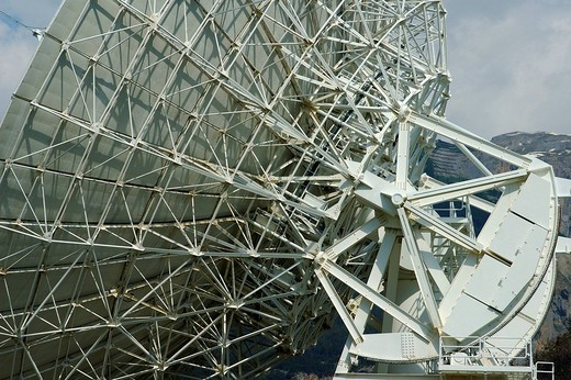 Support structures of a Parabolic antenna Satellite Land Earth Station Leuk Valais Switzerland : Stock Photo