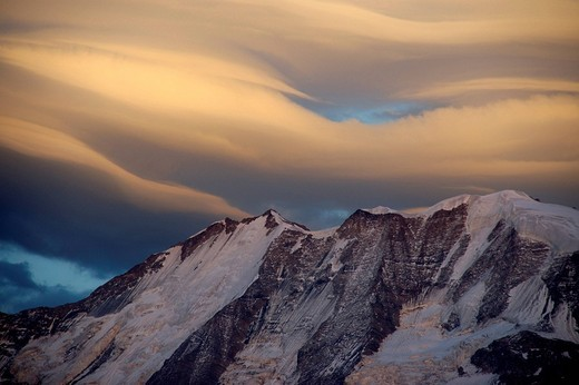 Stock Photo: 1848R-344145 Veils of foehn clouds above Mt  Blanc mountain in alpenglow Haute-Savoie France