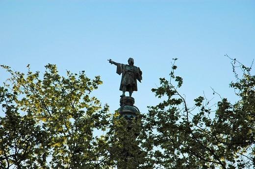 The Columbus column, Columbus statue, Monument a Colom, boardwalk Mill de la Fusta, Barcelona, Catalonia, Spain : Stock Photo