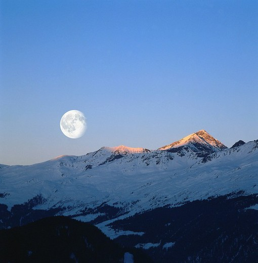 Stock Photo: 1848R-345579 Alps peaks and full moon, Nauders, Tyrol, Austria