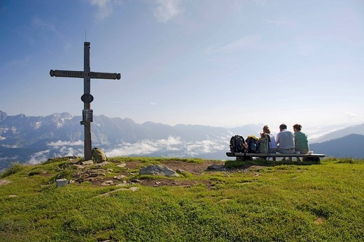 Hikers do break on the Gasselhoehe 2001m in the Dachstein _ Tauern Region, Styria, Austria : Stock Photo