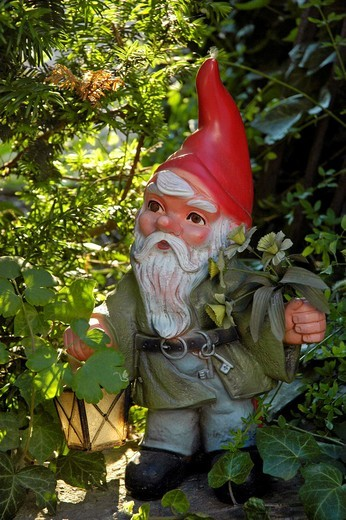 Garden gnome with lantern : Stock Photo
