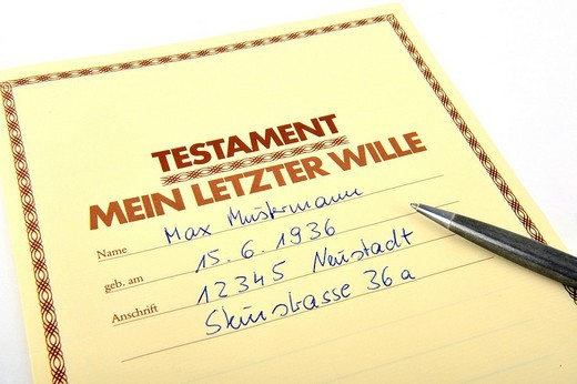 Stock Photo: 1848R-346776 Last will and testament