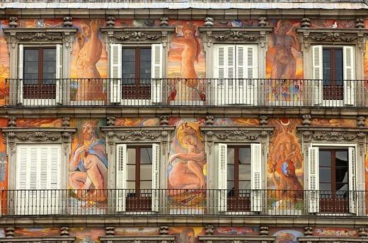 Stock Photo: 1848R-346938 Mural painting, Casa de la Panadería, Plaza Mayor, Madrid, Spain