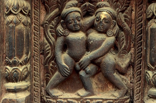 Stock Photo: 1848R-347340 Erotic wooden carving decorating a temple in Bhaktapur Nepal